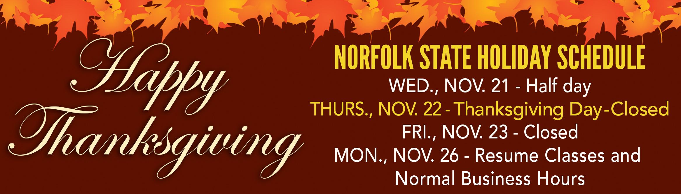 Thanksgiving Holiday Schedule Norfolk State University