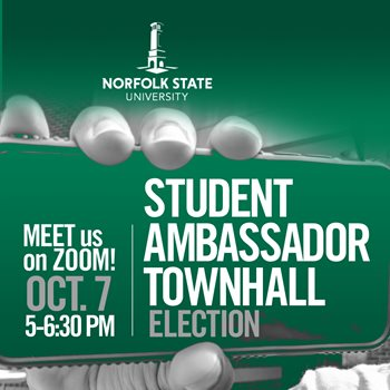 Meet us on Zoom | Student Ambassador Town Hall Election  - Oct. 7th 5 P.M. – 6:30 P.M.